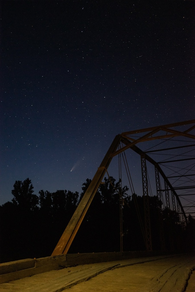 Come NEOWISE over an old iron bridge