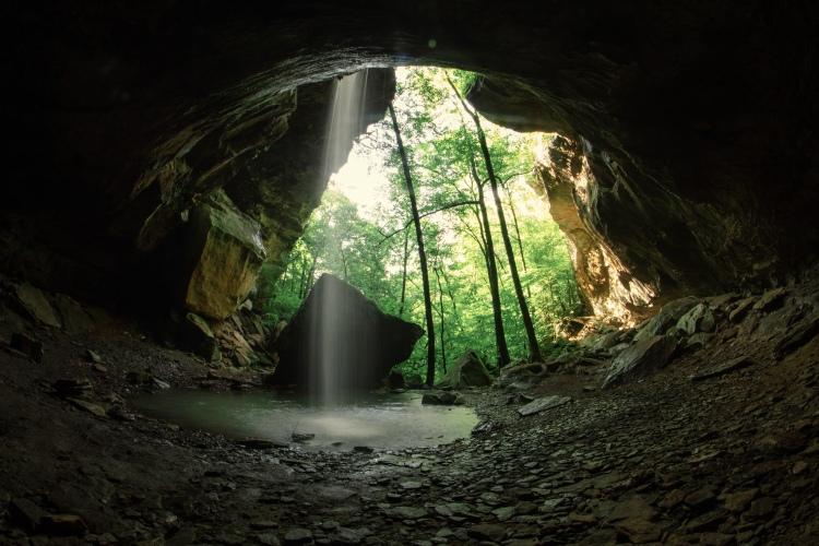 Fisheye view of Pam's Grotto waterfall