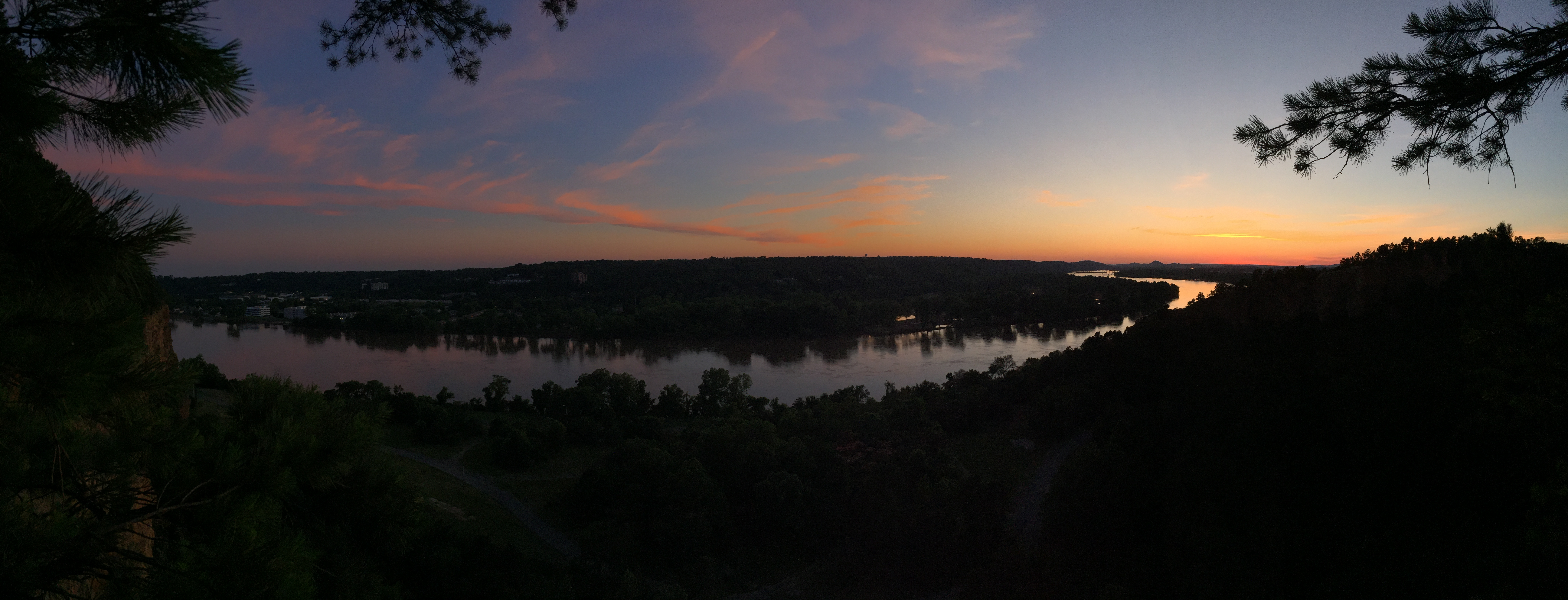 Panorama sunset at Emerald Park in North Little Rock Arkansas