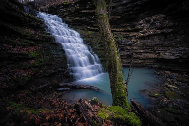 A cascade waterfall in the Upper Buffalo Wilderness