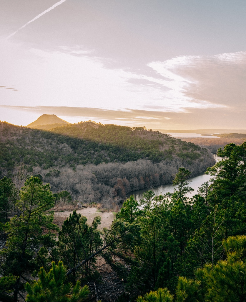Golden light on Pinnacle Mountain State Park in Arkansas