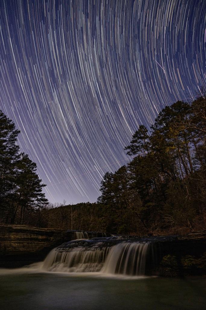 Haw Creek Falls on a starry night