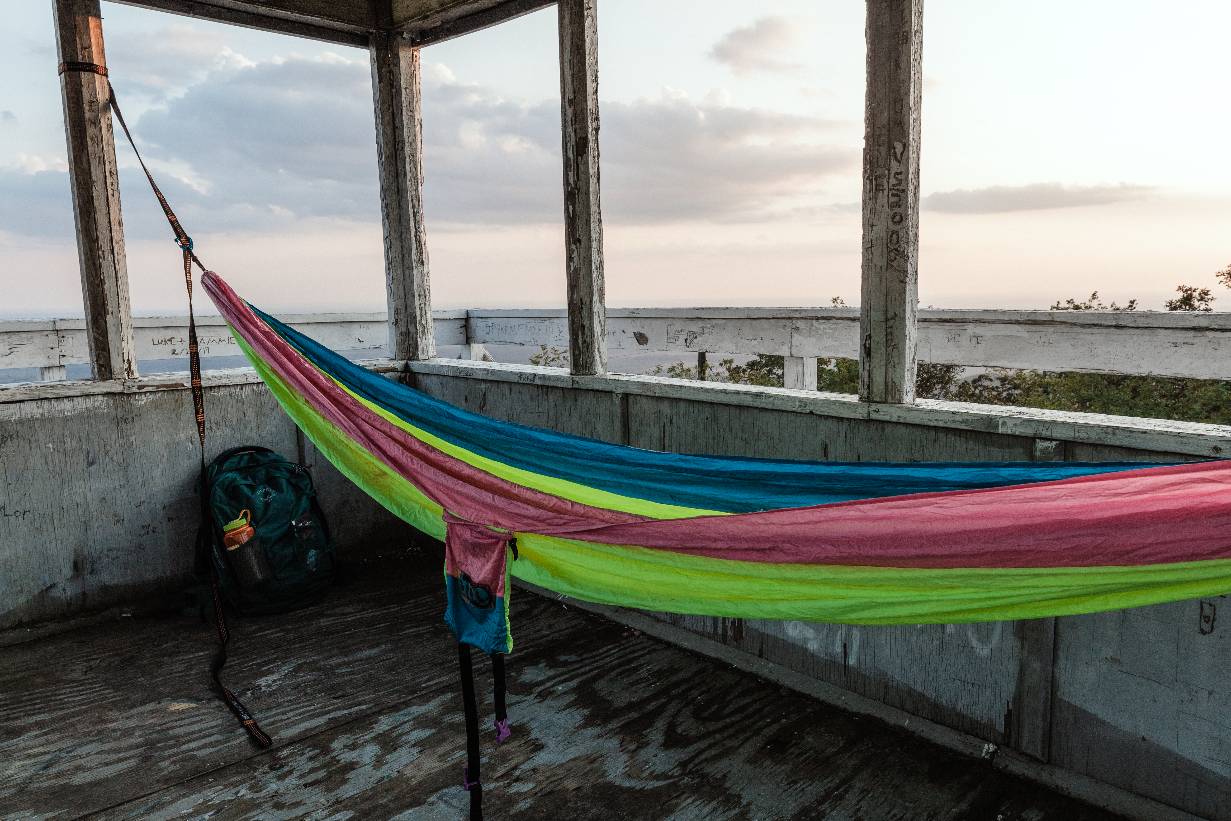 Hammock camp set up for the night in Tall Peak Tower