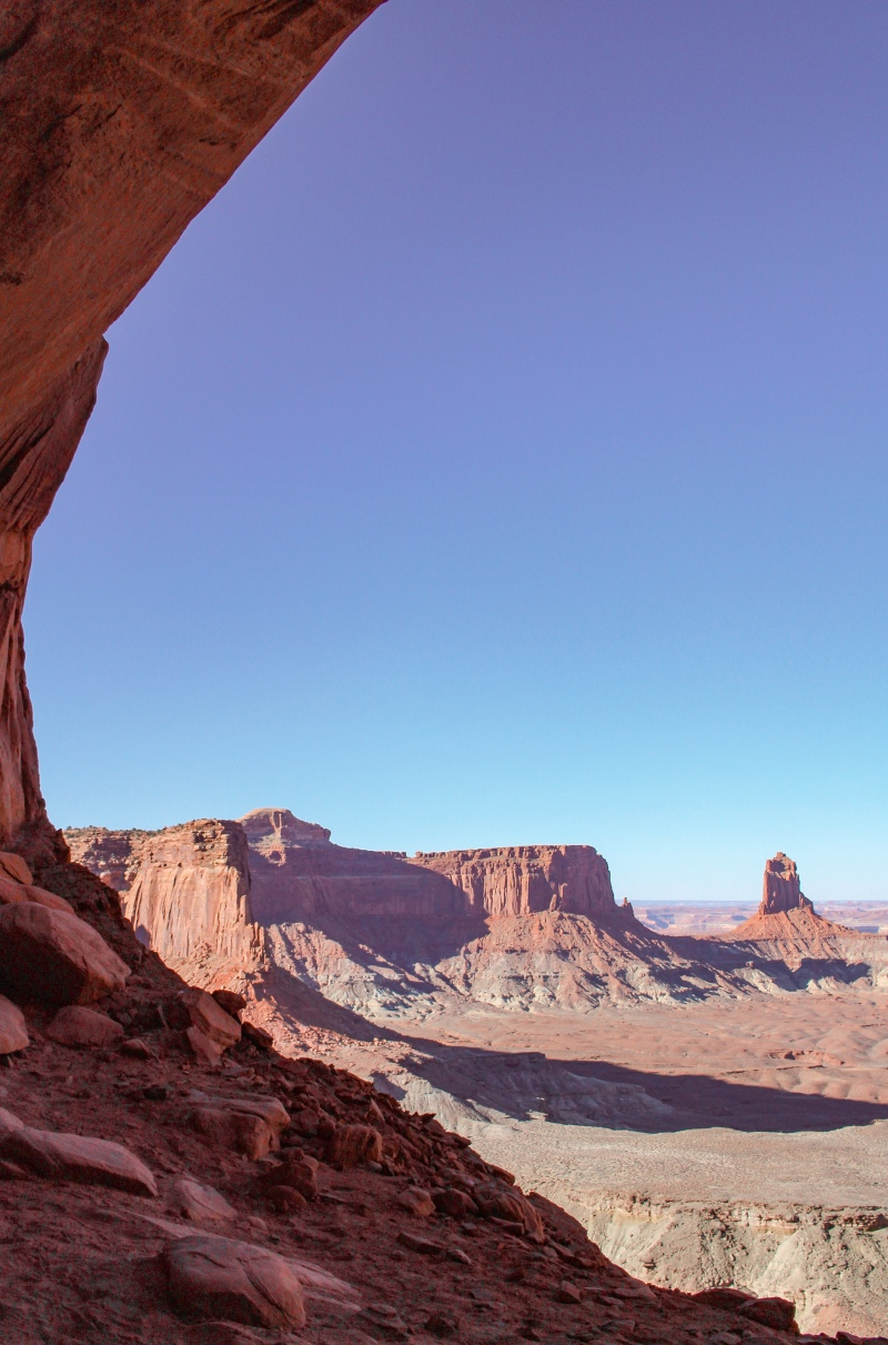 View over the desert from the False Kiva at Canyonlands