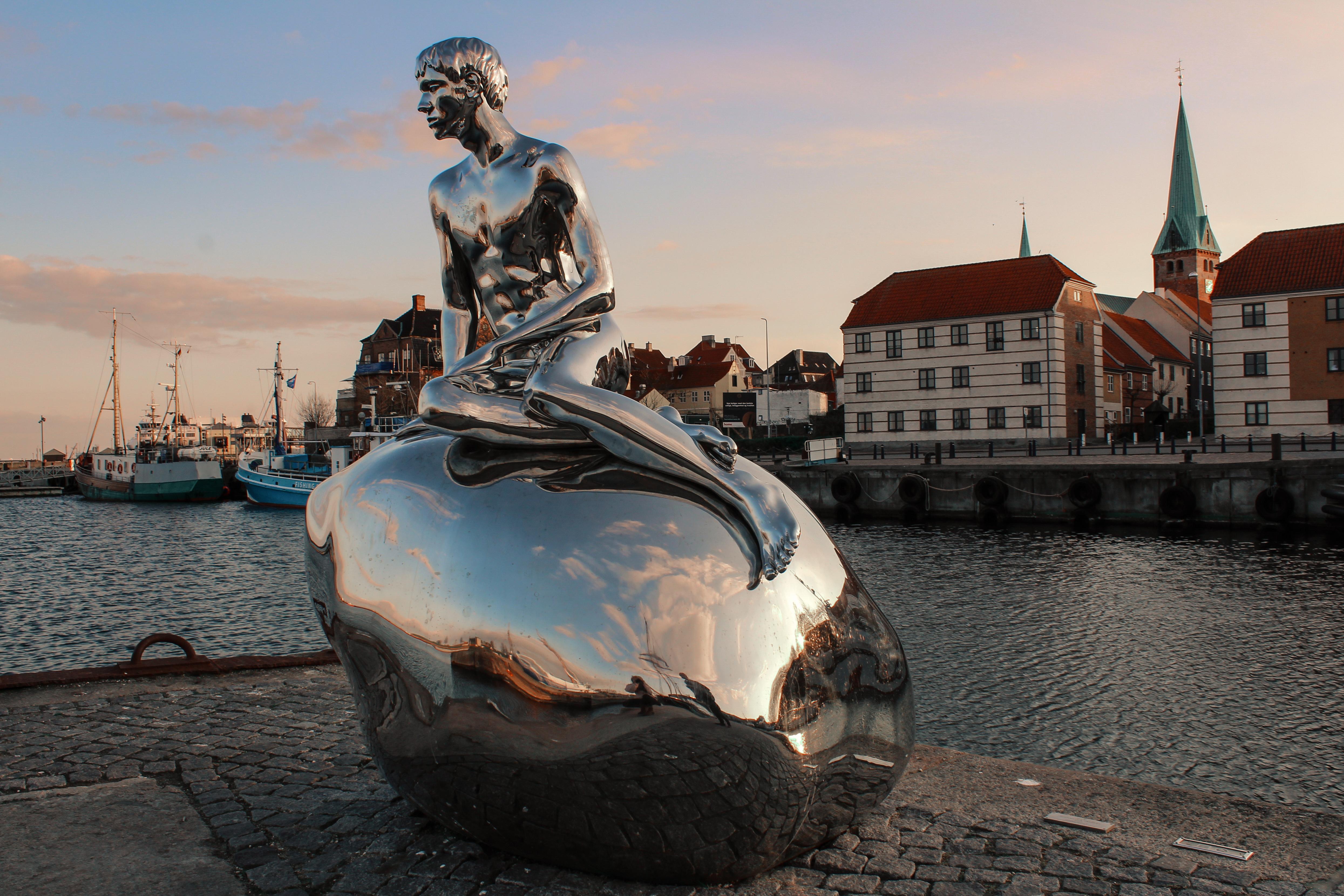 Chrome statue in Helsingor Harbor, Denmark, Scandinavian architecture