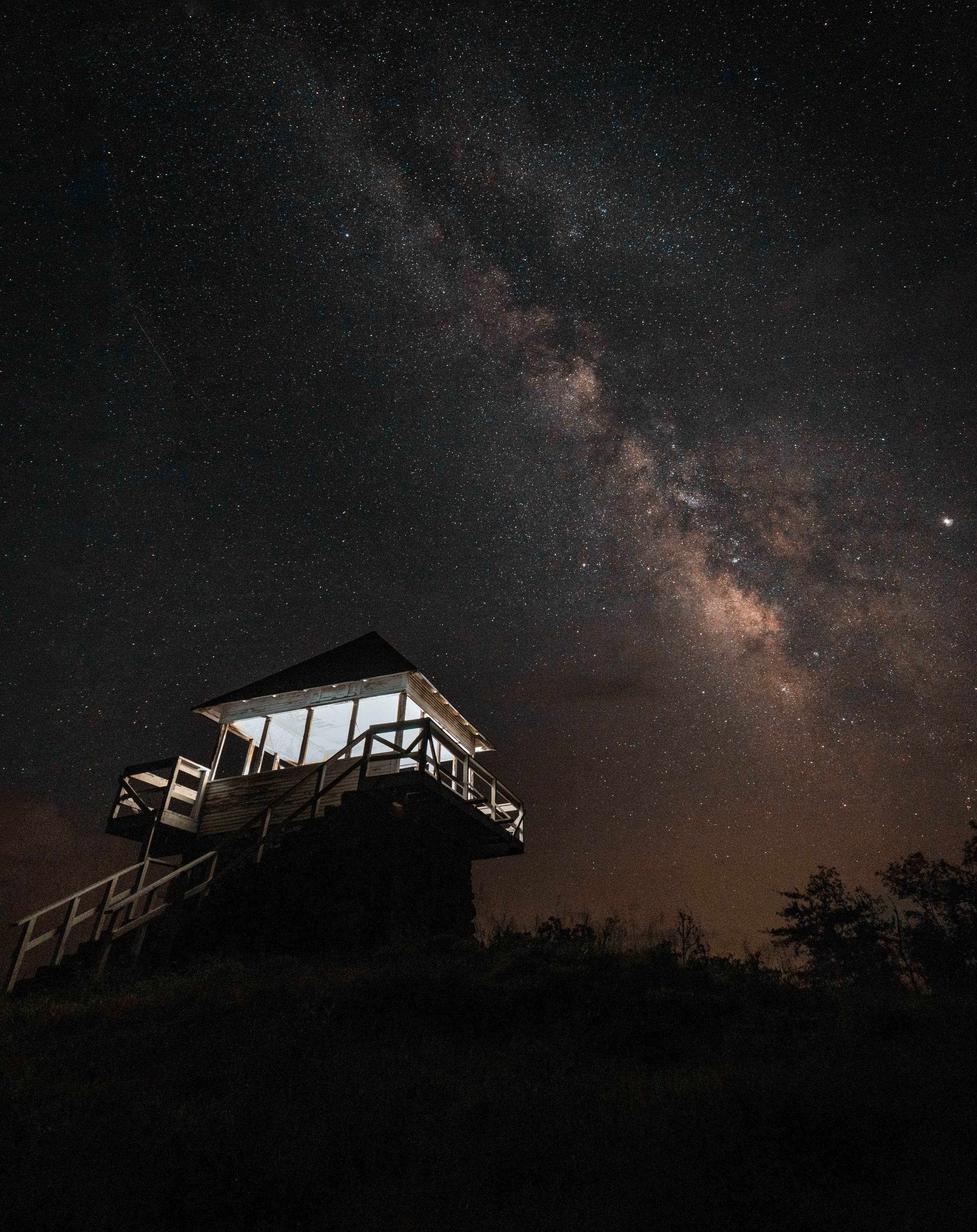 Milky Way night sky over Tall Peak Fire Tower in the Arkansas Ouachitas
