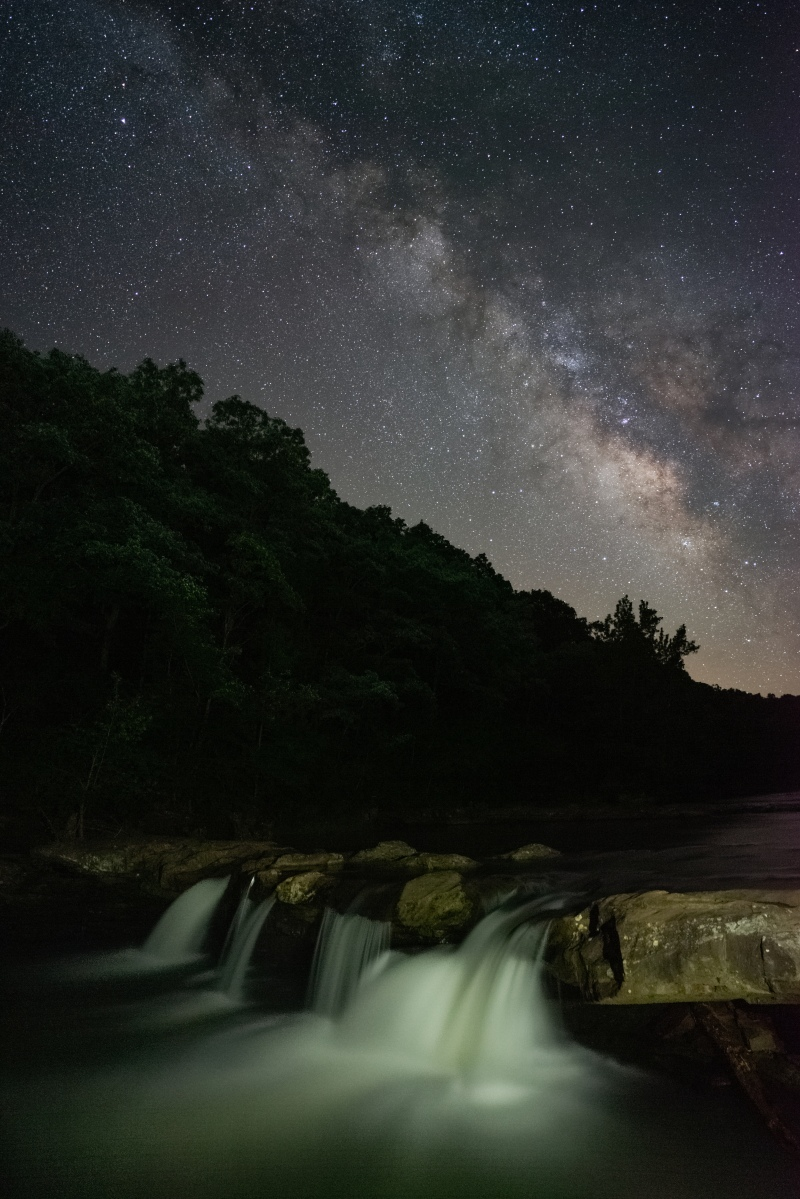 Milky Way over Kings River Falls in the Ozarks.